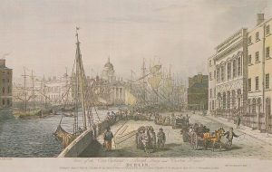 View of the Corn Exchange, Burgh Quay and the Custom House Dublin, 1820, drawn by S. F. Brocas, engraved by H. Brocas. 463TB (Reproduced courtesy of the National Library of Ireland)